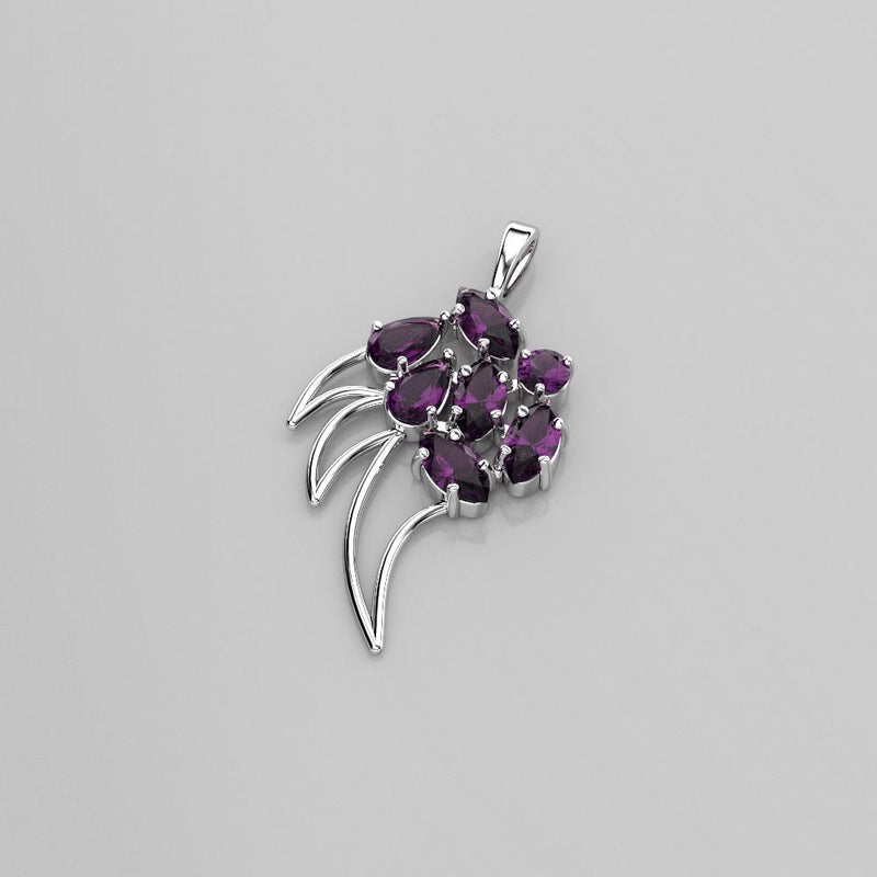 Natural African Amethyst Necklace 925 Sterling Silver / Claw-Shaped Pendant