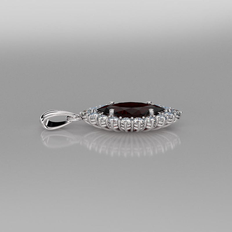 Natural Garnet Necklace 925 Sterling Silver / Halo-Style