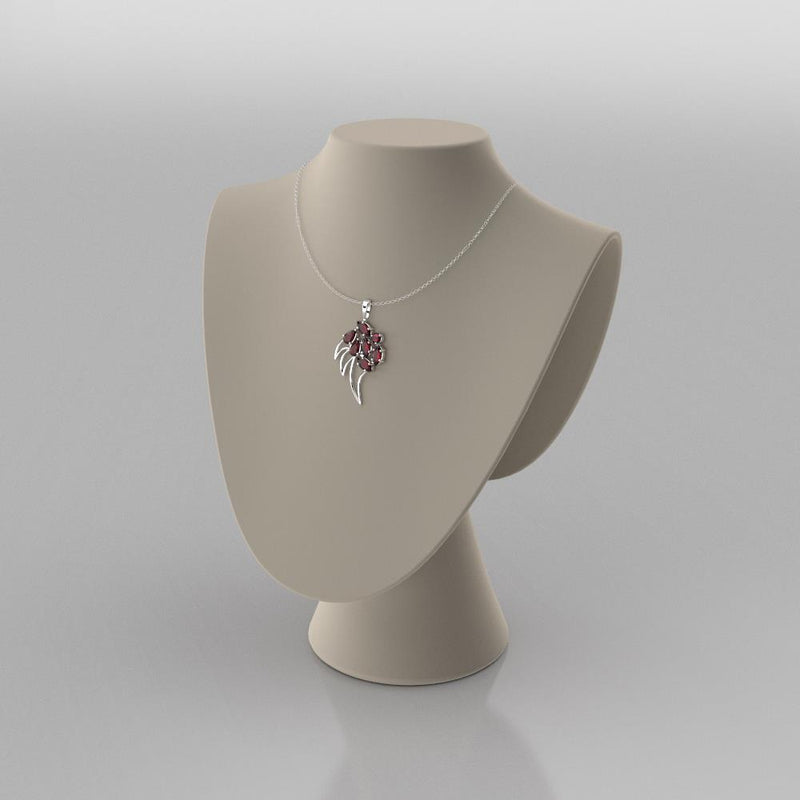 Natural Garnet Necklace 925 Sterling Silver / Claw-Shaped Pendant