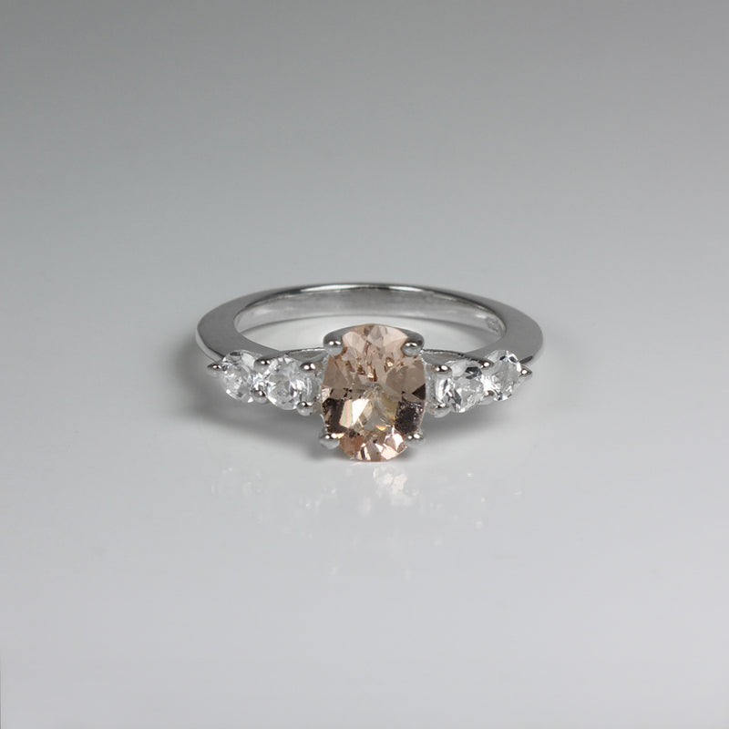 Natural Morganite and Genuine Topaz Accents Ring 925 Sterling Silver / Oval-Shaped
