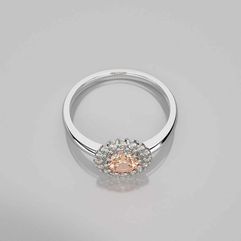 Halo-Style Natural Morganite Ring 925 Sterling Silver / Genuine Topaz Accents