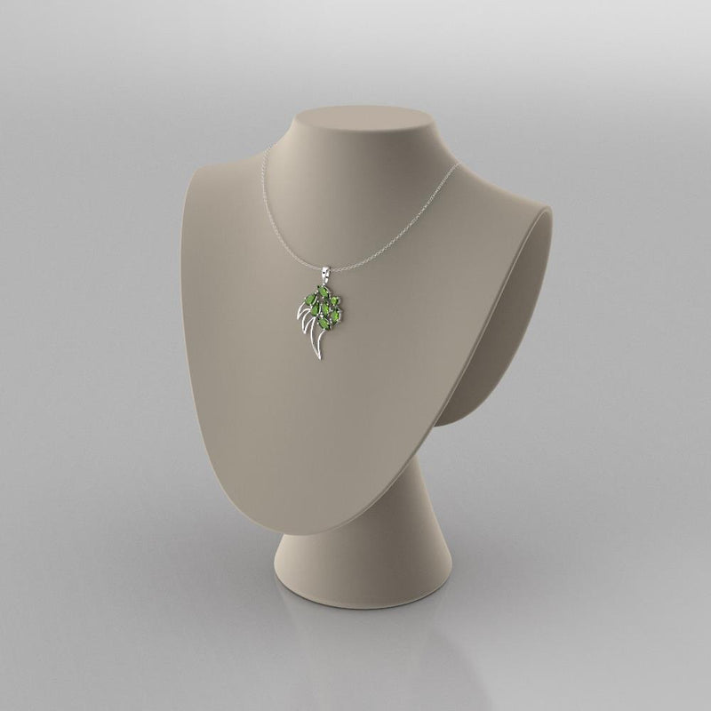 Natural Peridot Necklace 925 Sterling Silver / Claw-Shaped Pendant