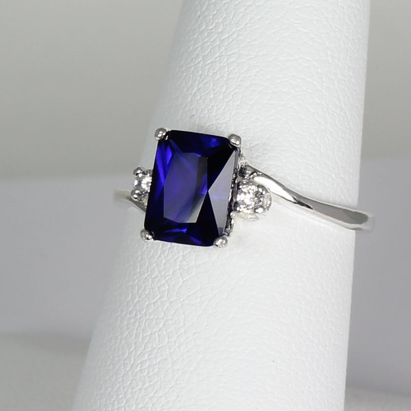 Blue Sapphire Ring 925 Sterling Silver with Diamond Accents