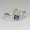 Natural Peridot & African Amethyst 925 Sterling Silver Ring