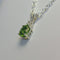 Natural Peridot and White Sapphire Necklace 925 Sterling Silver / Oval-Shaped