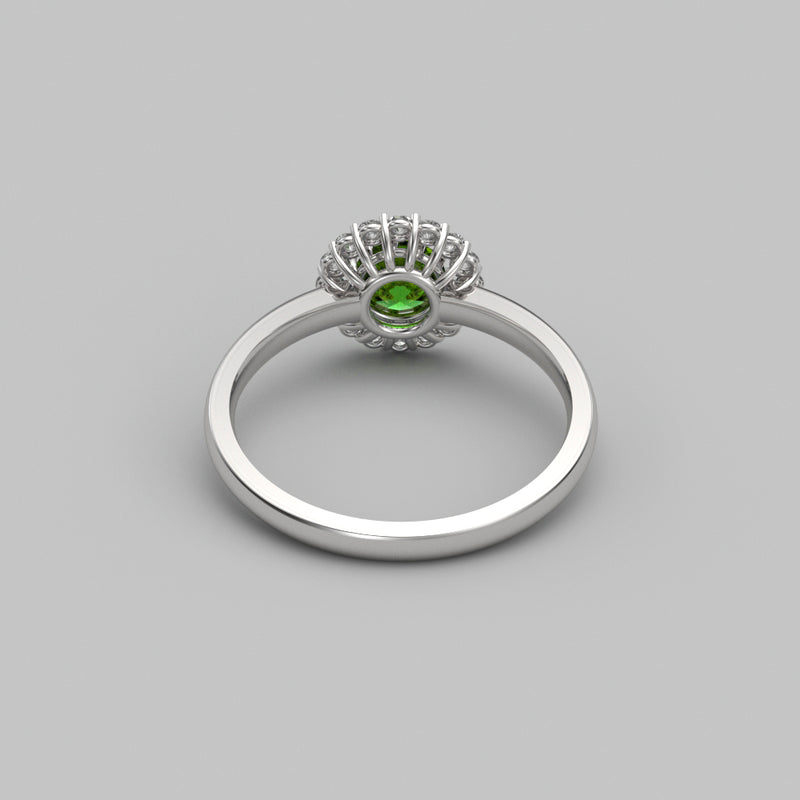 Natural Peridot Ring 925 Sterling Silver / White Topaz Accents