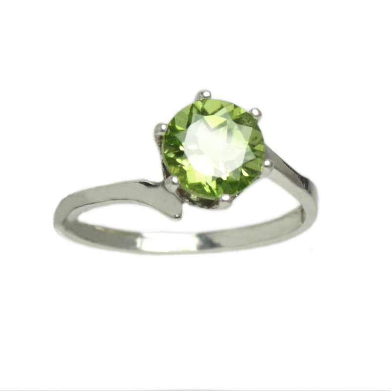 Natural Peridot 925 Sterling Silver Ring / Solitaire Bypass-Style