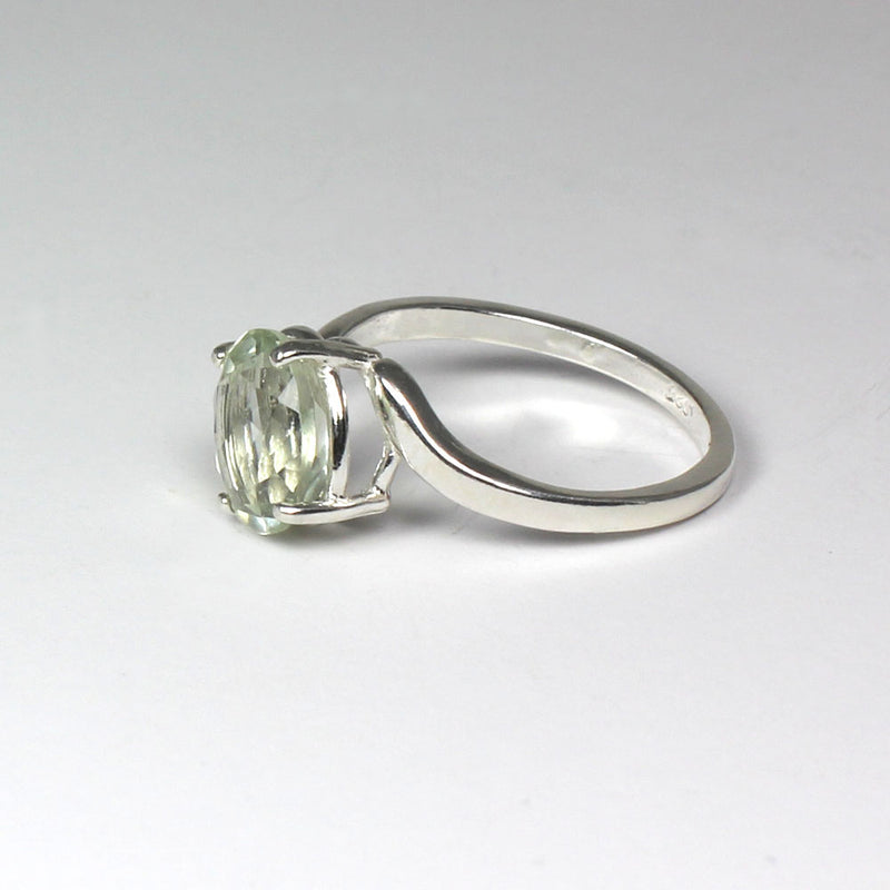 Natural Prasiolite Ring 925 Sterling Silver / Bypass-Style