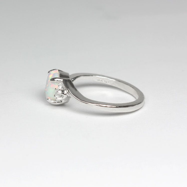 Rainbow Opal and White Diamond Accents Ring 925 Sterling Silver / Oval-Shaped