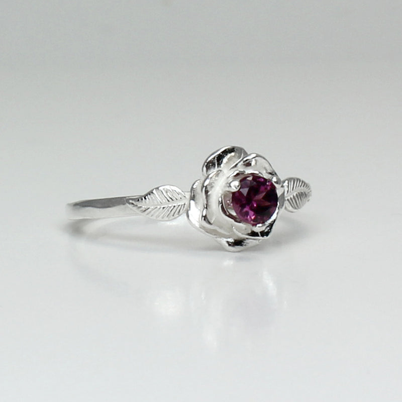 Natural Rhodolite Garnet Ring 925 Sterling Silver / Rose-Shaped / January Birthstone