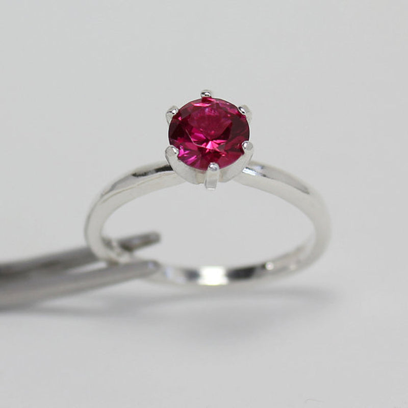Ruby Ring 925 Sterling Silver / Engagement-Style