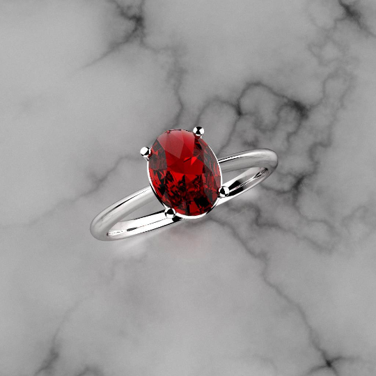 Ruby Ring 925 Sterling Silver / Oval-Shaped