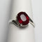 Genuine Blood Ruby Ring 925 Sterling Silver / Bypass-Style