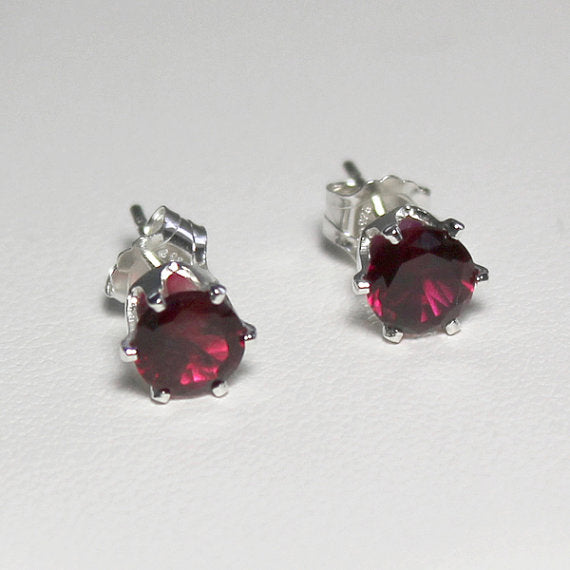 Ruby Stud Earrings 925 Sterling Silver  / Round-Shaped
