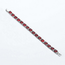 Ruby Tennis Bracelet 14K White Gold-Filled with Diamond Accents