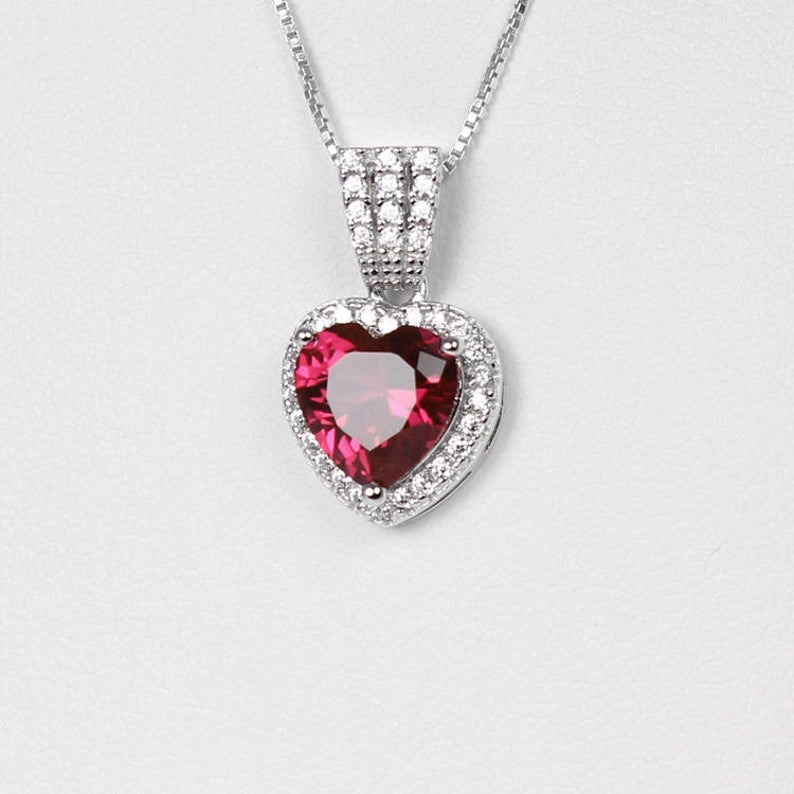Ruby and Diamonds Necklace 925 Sterling Silver / Heart-Shaped