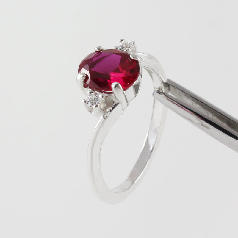 Ruby and White Diamond Accents Ring 925 Sterling Silver / Oval-Shaped