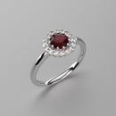 Halo-Style Ruby Ring 925 Sterling Silver / Genuine White Topaz Accents