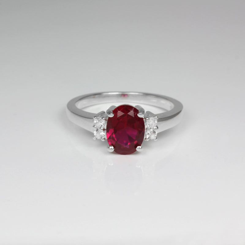 Ruby Ring Sterling Silver with Sapphire Accents / Oval-Shaped