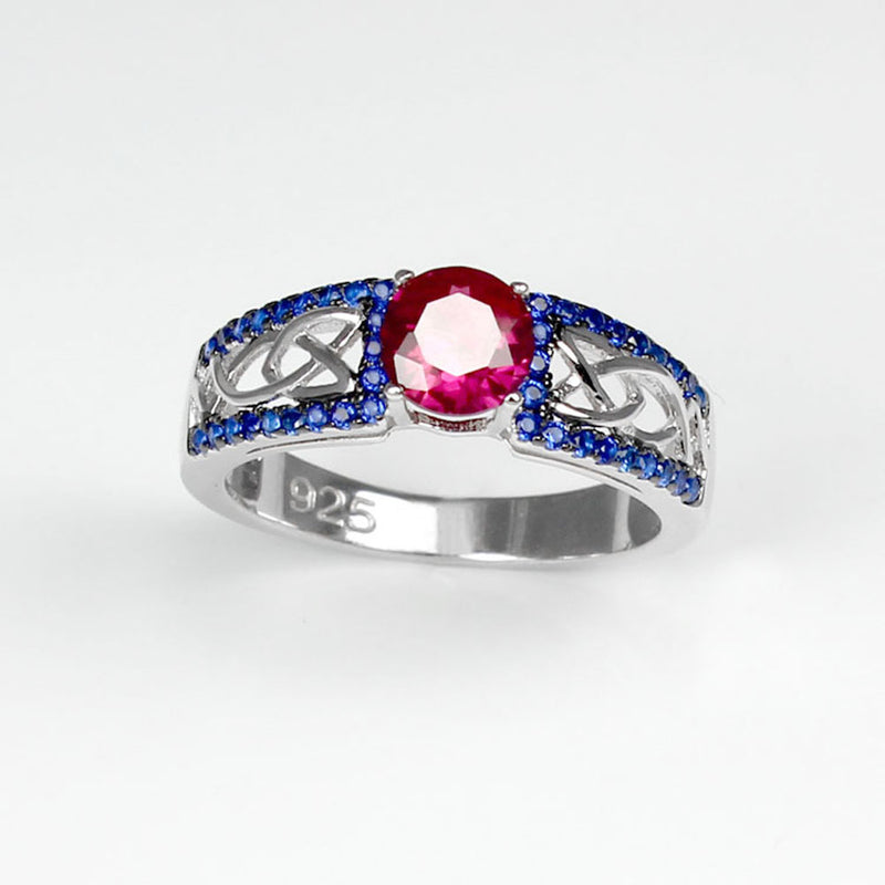 Ruby and Sapphire Ring 925 Sterling Silver / Celtic-Style