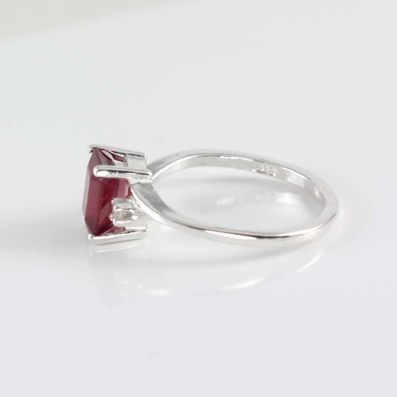 Genuine Pigeon Blood Ruby Ring 925 Sterling Silver / Sapphire Accents