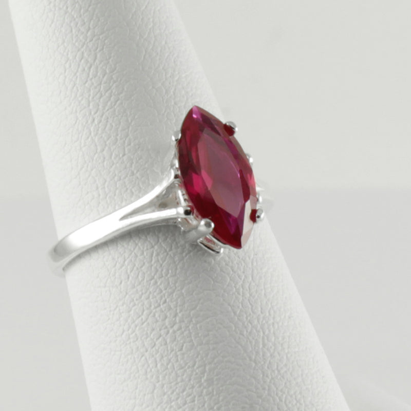 Ruby Ring 925 Sterling Silver / Marquise-Cut