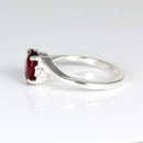 Genuine Blood Ruby Ring 925 Sterling Silver / Oval-Cut