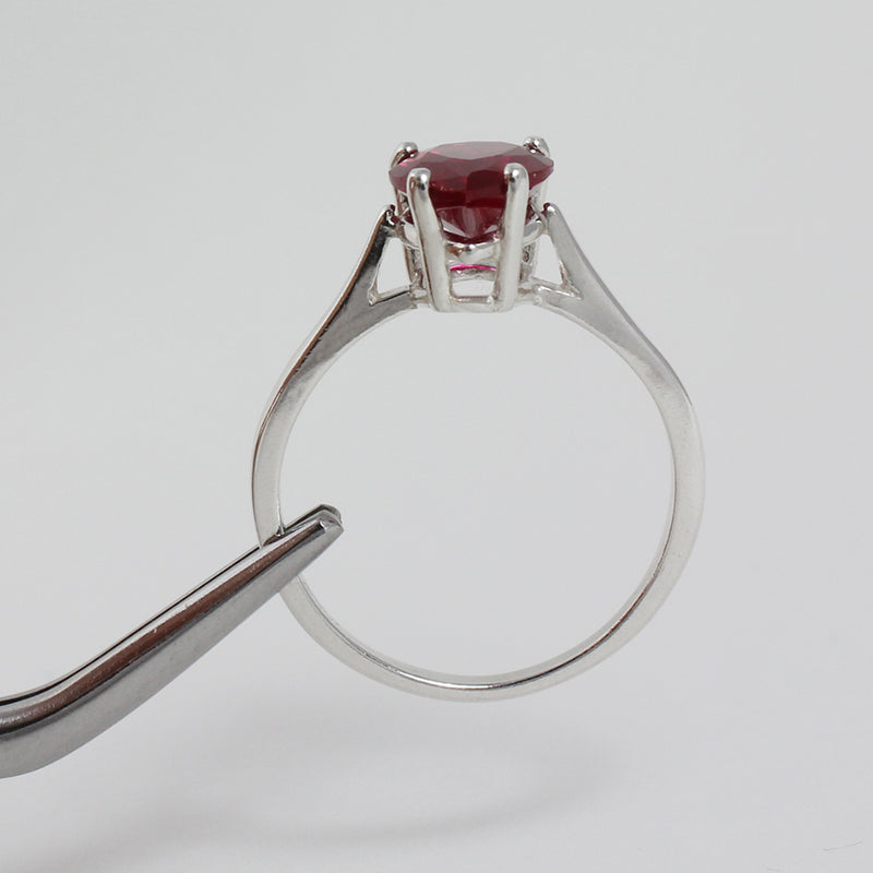 Ruby Ring 925 Sterling Silver / Pear-Shaped Solitaire