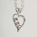 Genuine Red Sapphires Necklace 925 Sterling Silver / Heart-Shaped Pendant