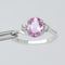 Pink Sapphire Ring 925 Sterling Silver / White Sapphire Accents