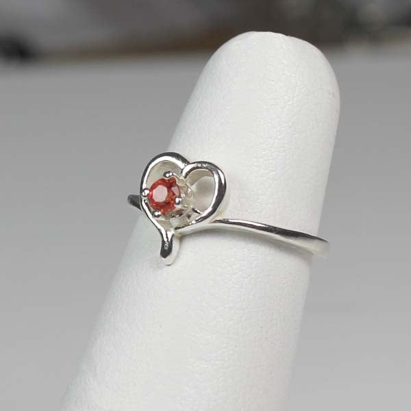 Genuine Red Sapphire Ring 925 Sterling Silver / Heart-Shaped