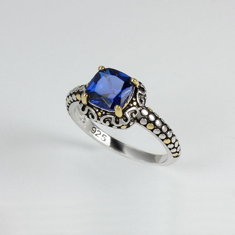 Blue Sapphire Ring 925 Sterling Silver  / Filigree-Style