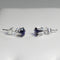 Blue Sapphire Stud Earrings 925 Sterling Silver  / Round-Shaped