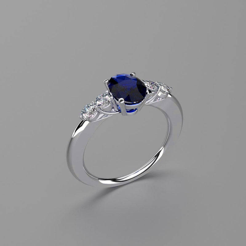 Blue Sapphire and Genuine Topaz Accents Ring 925 Sterling Silver / Oval-Shaped