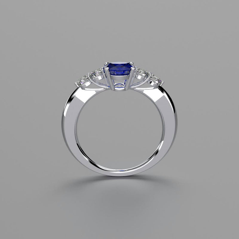 Blue Sapphire Ring 925 Sterling Silver / Genuine Topaz Accents