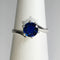 Blue Sapphire 925 Sterling Silver Ring / Round-Shaped Bypass