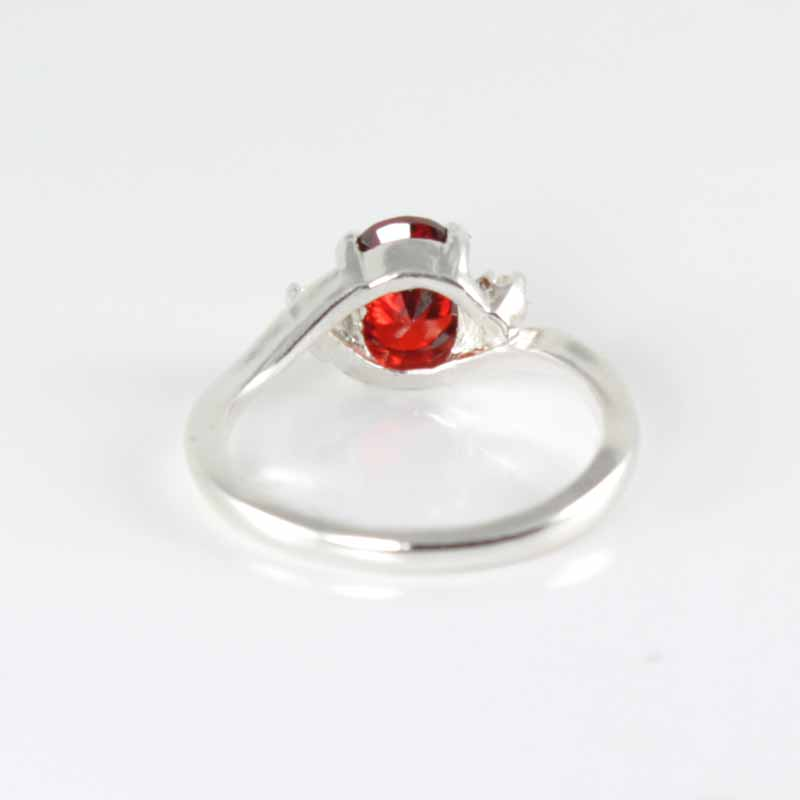Natural Spessartite Garnet Ring 925 Sterling Silver / Genuine Sapphire Accents