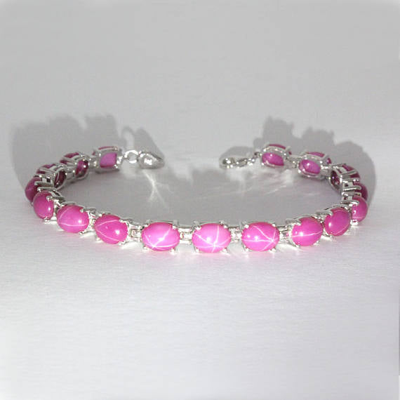 Star Ruby Tennis Bracelet 925 Sterling Silver / Oval-Shaped