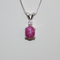 Pink Star Ruby Necklace Pendant 925 Sterling Silver / White Diamond Accent