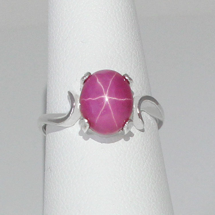 Pink Star Ruby Ring 925 Sterling Silver / Cabochon Swirl-Style