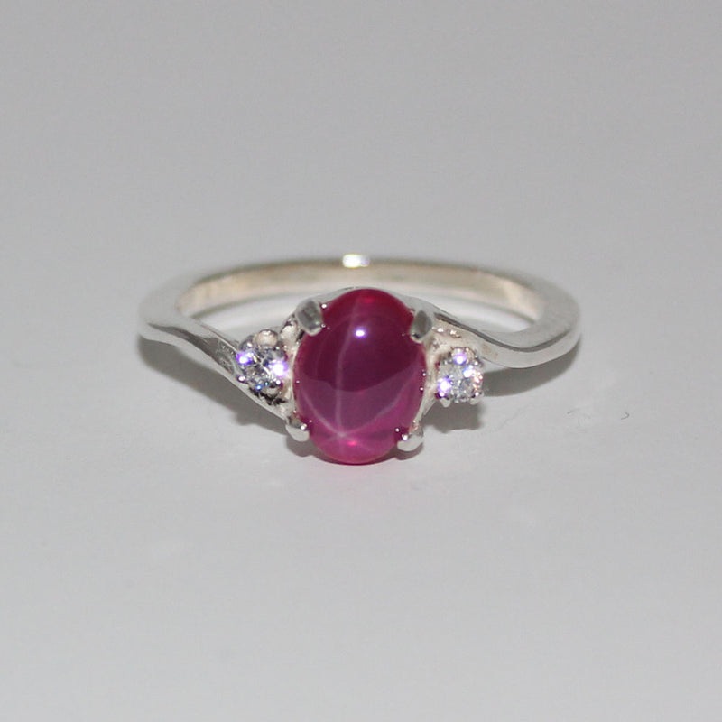Pink Star Ruby Ring 925 Sterling Silver / White Sapphire Accents