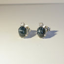 Genuine 3.5-ct Blue Star Sapphire and White Sapphire Accented 925 Sterling Silver Stud Earrings / Oval-Shaped