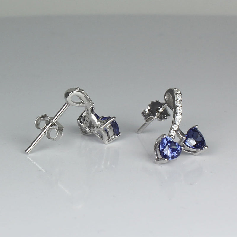 Tanzanite and Diamond Sterling Silver Earrings / Heart-Shaped Studs