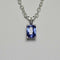 Tanzanite and Diamond Necklace 925 Sterling Silver / Emerald-Shaped