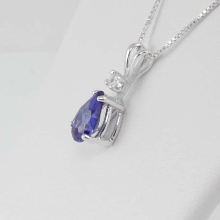 Tanzanite and White Diamond Necklace 925 Sterling Silver / Pear-Shaped