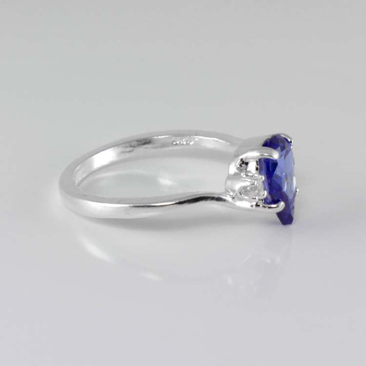 Tanzanite Ring 925 Sterling Silver Diamond Accents / Pear-Shaped