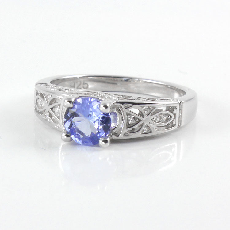 Genuine Tanzanite Ring 925 Sterling Silver / Celtic-Style