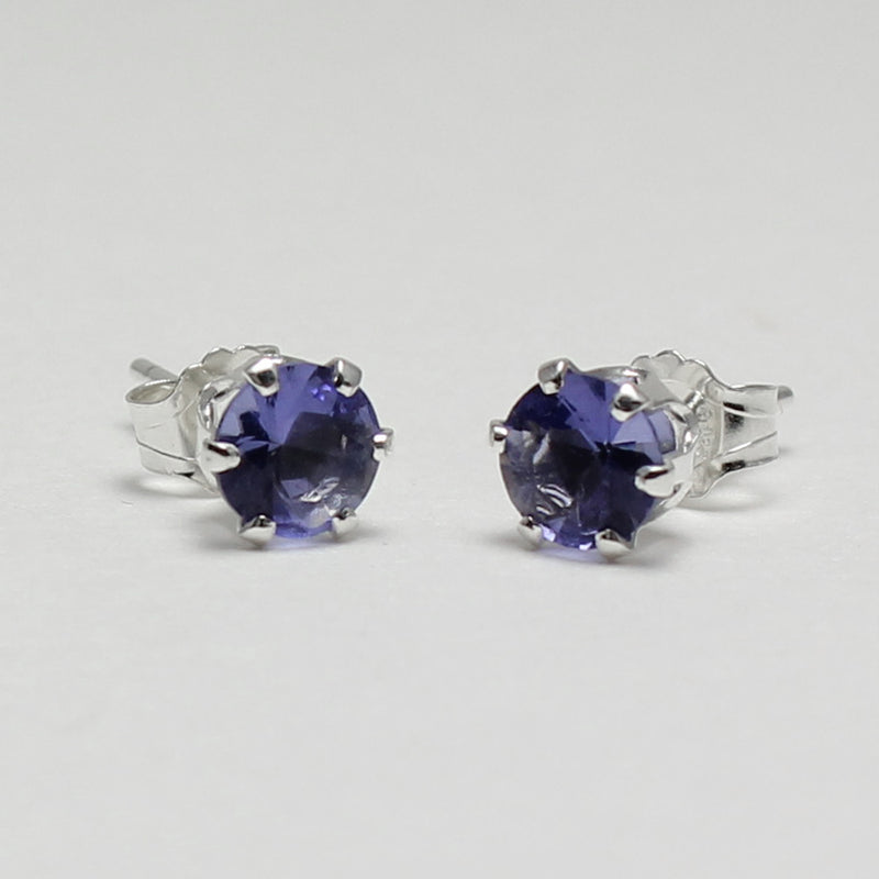 Tanzanite Sterling Silver Stud Earrings / Round-Shaped