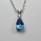 Natural London Blue Topaz and White Sapphire Necklace 925 Sterling Silver / Pear-Shaped