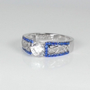 Diamond & Blue Sapphire Ring 925 Sterling Silver / Celtic-Style